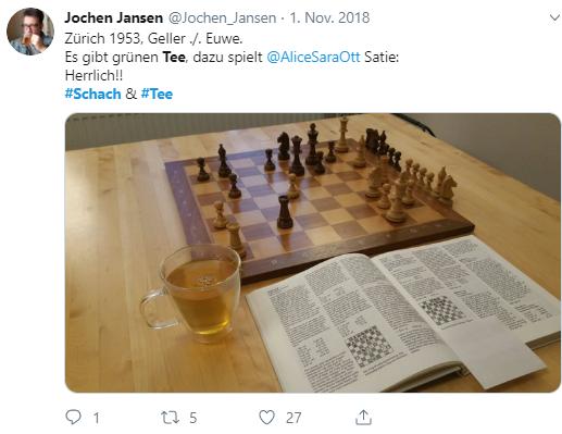Geller gegen Euwe bei einer Tasse Tee: So verbringt Jochen Jansen seine Nachmittage.